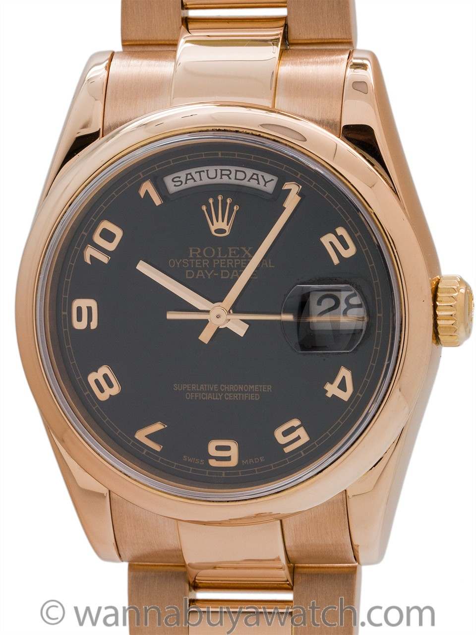 Rolex 18K PG Oyster President ref 118205 circa 2002