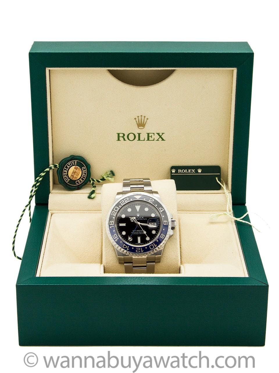 "Rolex SS GMT-Master II ref 116710 BLNR circa 2015 ""Batman"" Box & Papers"