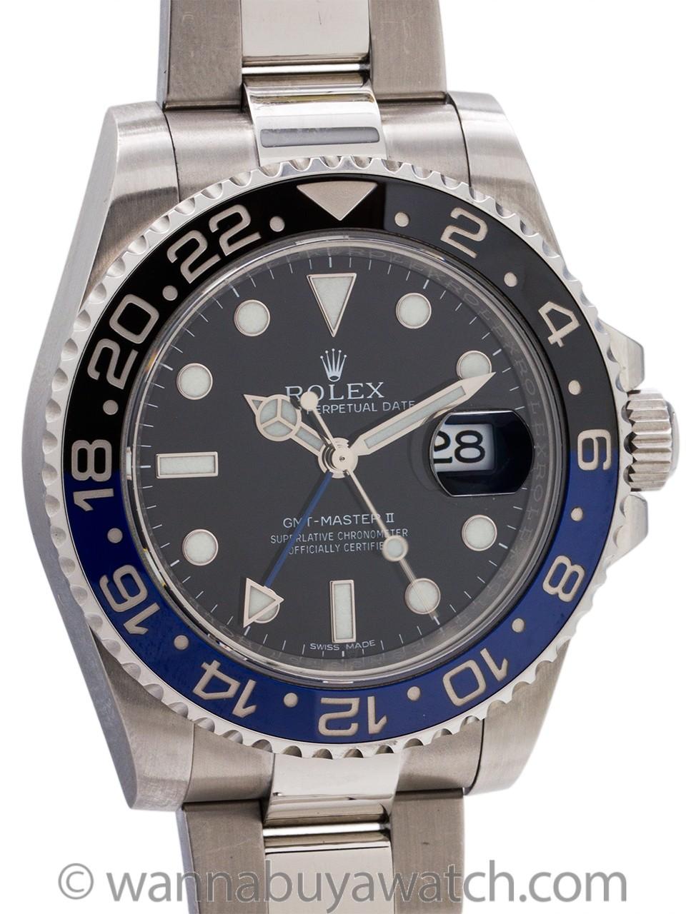 """Rolex SS GMT-Master II ref 116710 BLNR circa 2016 """"Batman"""" Warranty Card"""