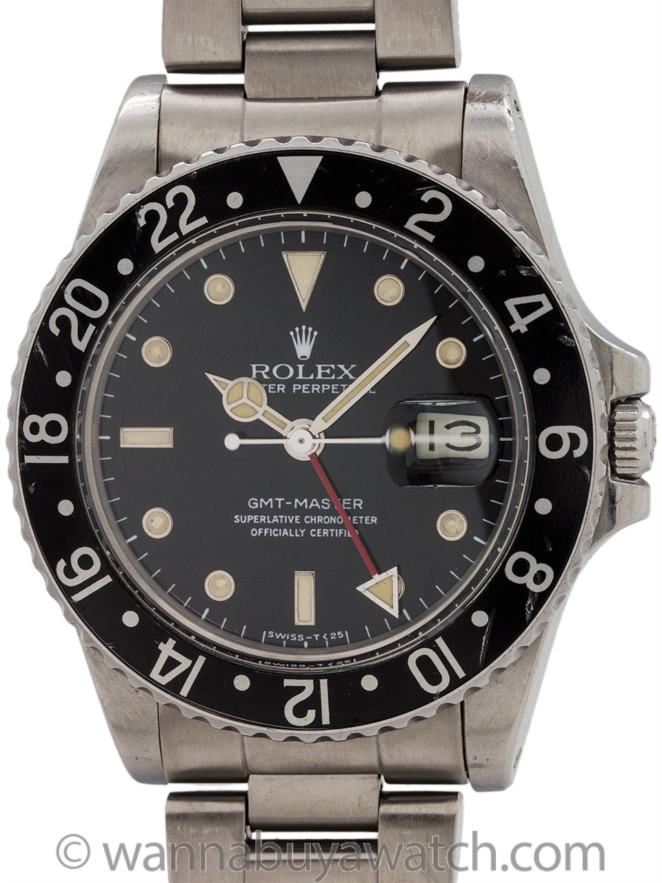 "Rolex GMT ref 16750 Transitional Rare ""No Date"" circa 1983"