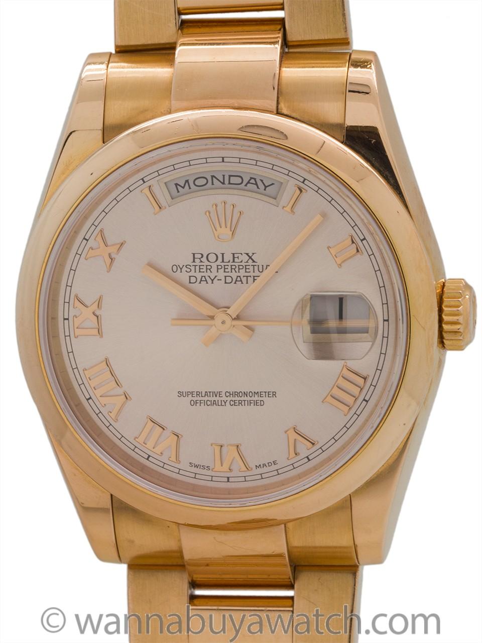 "Rolex 18K PG Oyster President ""Roman Rose"" circa 2000"
