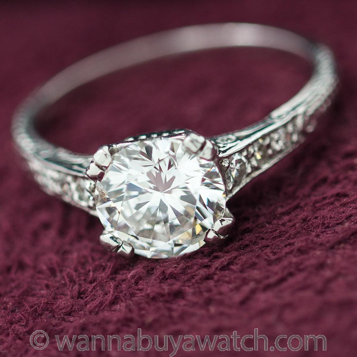 Vintage Inspired Platinum Engagement Ring 1.52ct Round Brilliant H-SI2