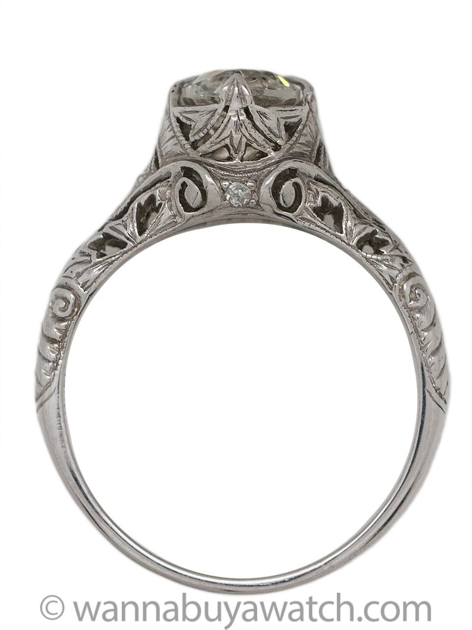 Vintage Engagement Ring Platinum 1.10ct Old Mine Cut G-SI2 circa 1920s
