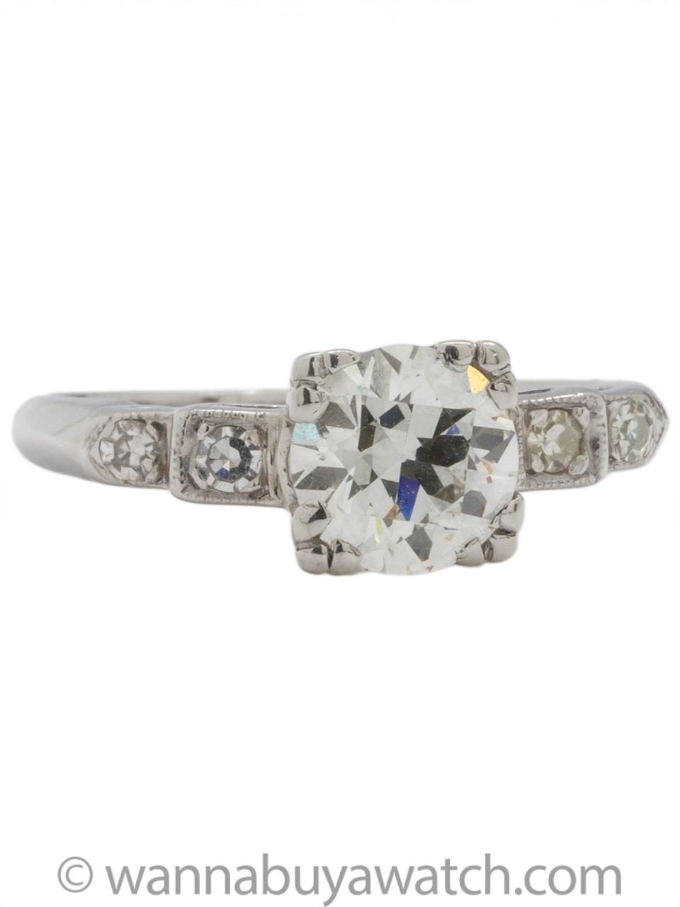 Vintage Engagement Ring Platinum 1.22ct OEC J-VS1 circa 1930s