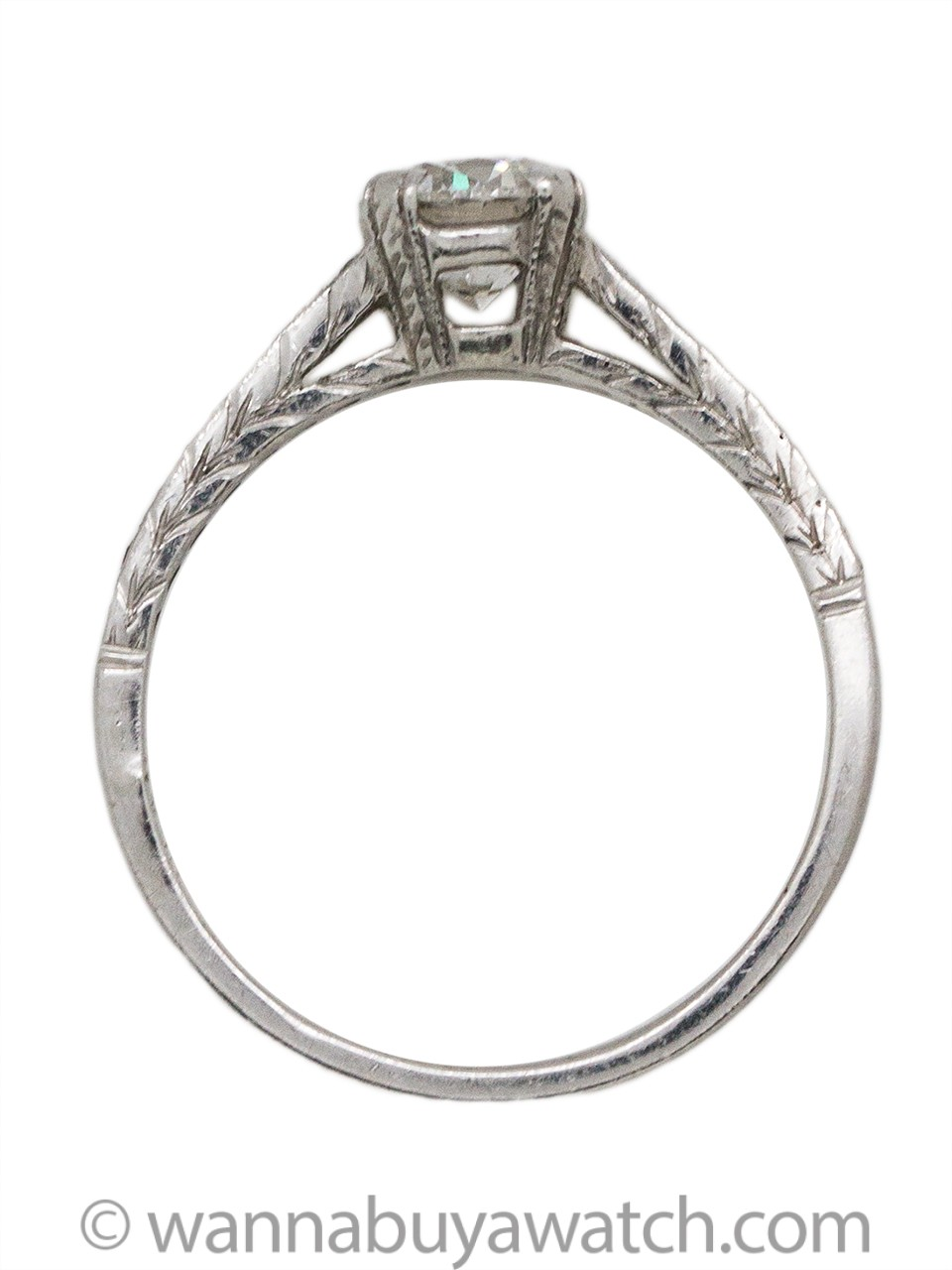 1920s Inspired Engagement Ring Platinum 0.69ct Transitional Round Brilliant F-SI1
