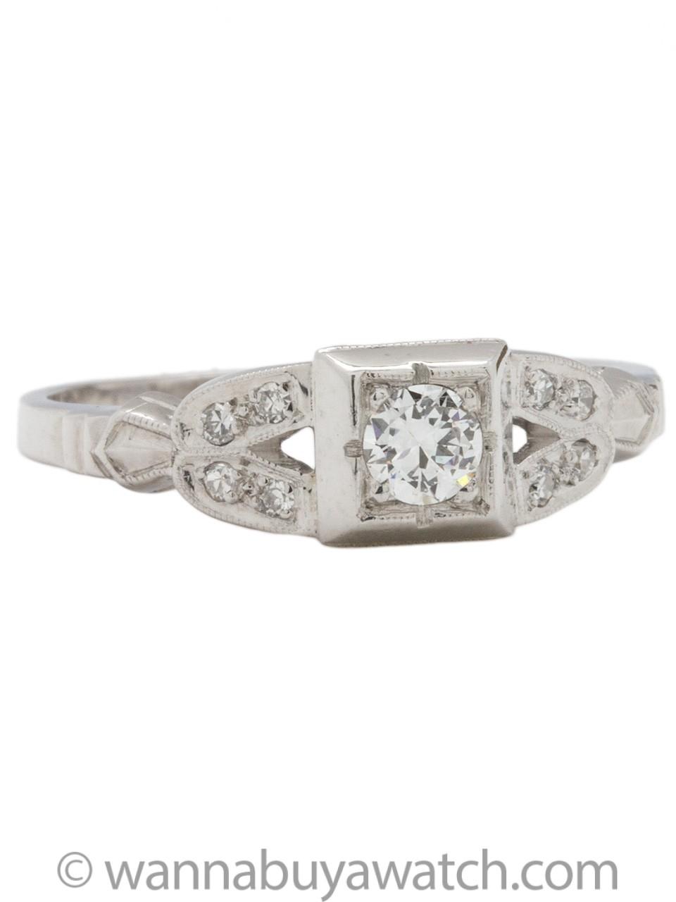 Vintage Engagement Ring Platinum 0.20 Carat Old European Cut I-SI1 circa 1930s