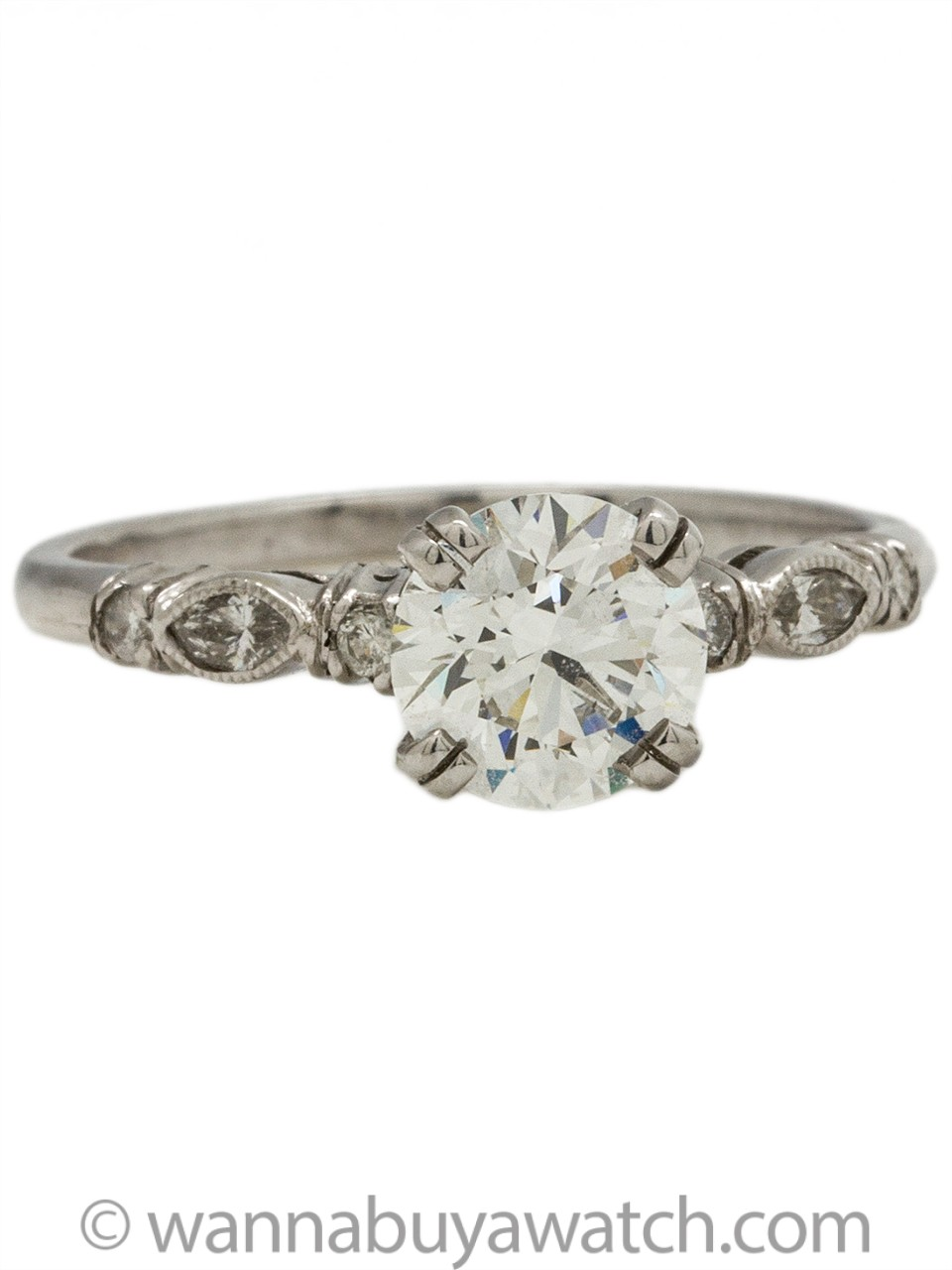1930s Inspired Engagement Ring Platinum 1.02ct Certified Hearts & Arrows Round Brilliant G-VS1