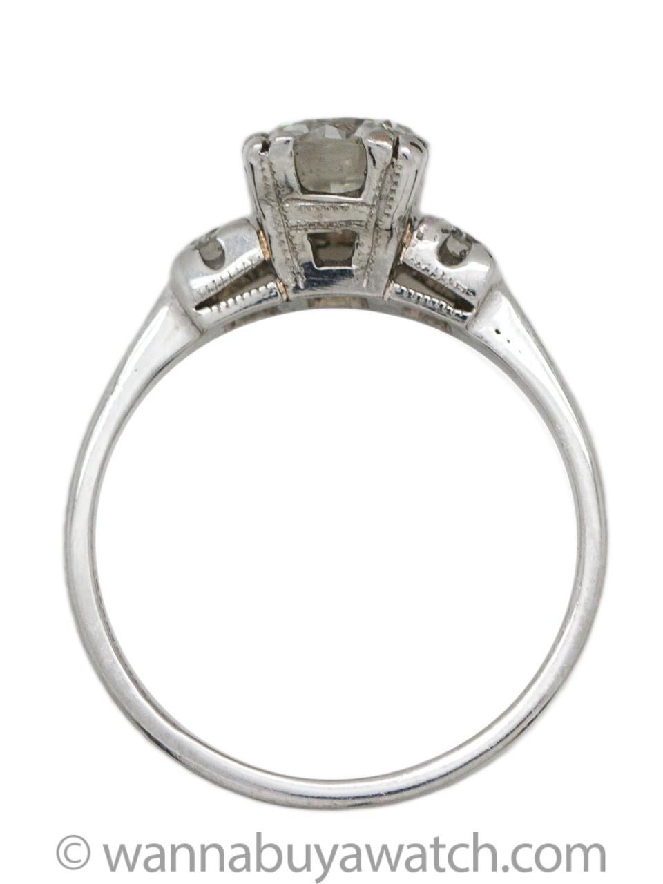 Vintage Engagement Ring Platinum 0.93ct Round Brilliant I-SI1 circa 1940s