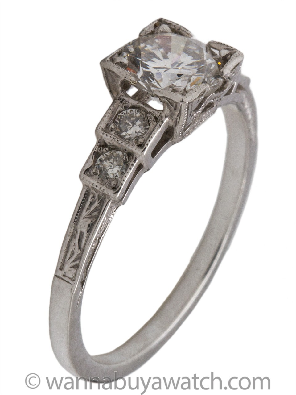 Vintage Style Engagement Ring Platinum 0.85ct Round Brilliant D-SI1