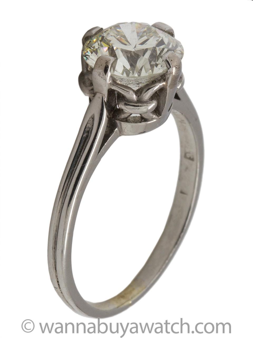 Vintage Engagement Ring Platinum 2.01 Carat Old European Cut J-VS1 circa 1920s