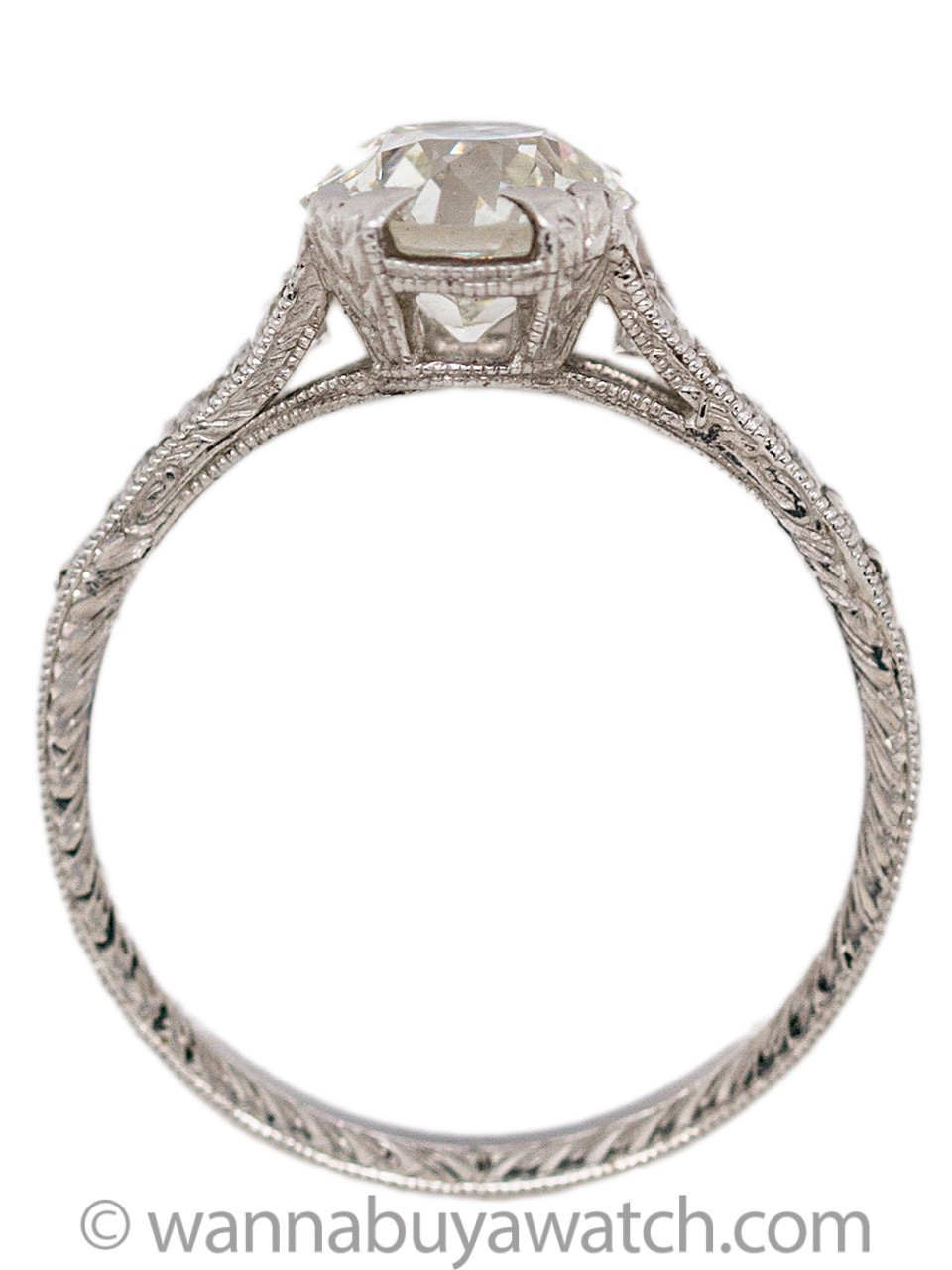 Hand Engraved Edwardian Style Engagement Ring Platinum 1.63ct OEC G-VS1
