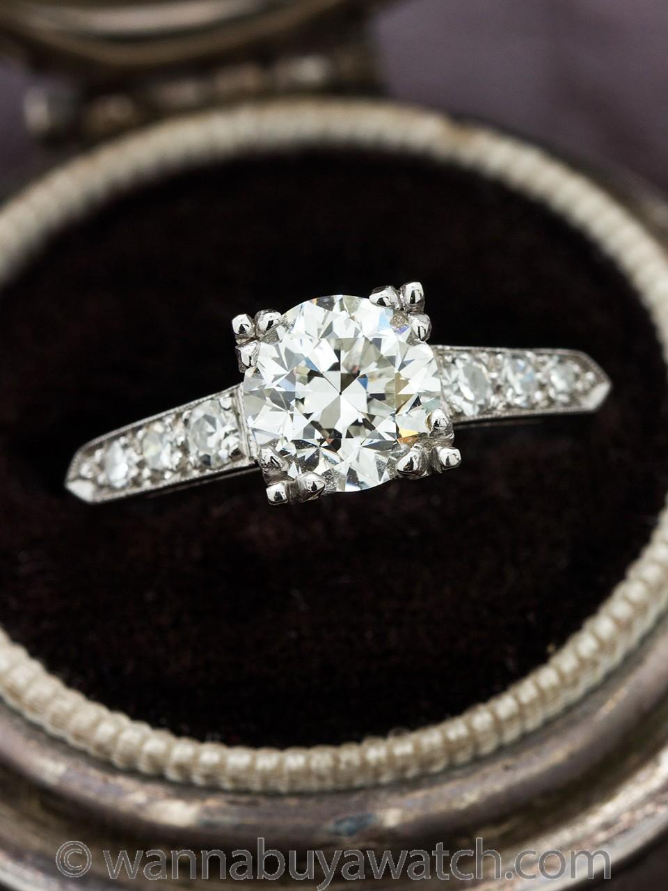 Vintage Engagement Ring Platinum 1.27 Carat Transitional Cut H-VS1, circa 1940s