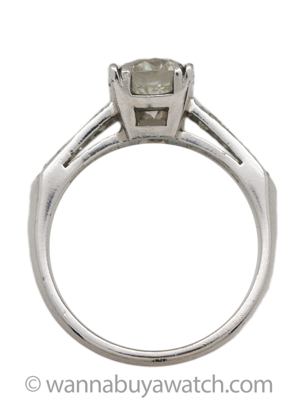 Vintage Engagement Ring Platinum 1.27 Carat Transitional Cut H-VS1, circa 1940s