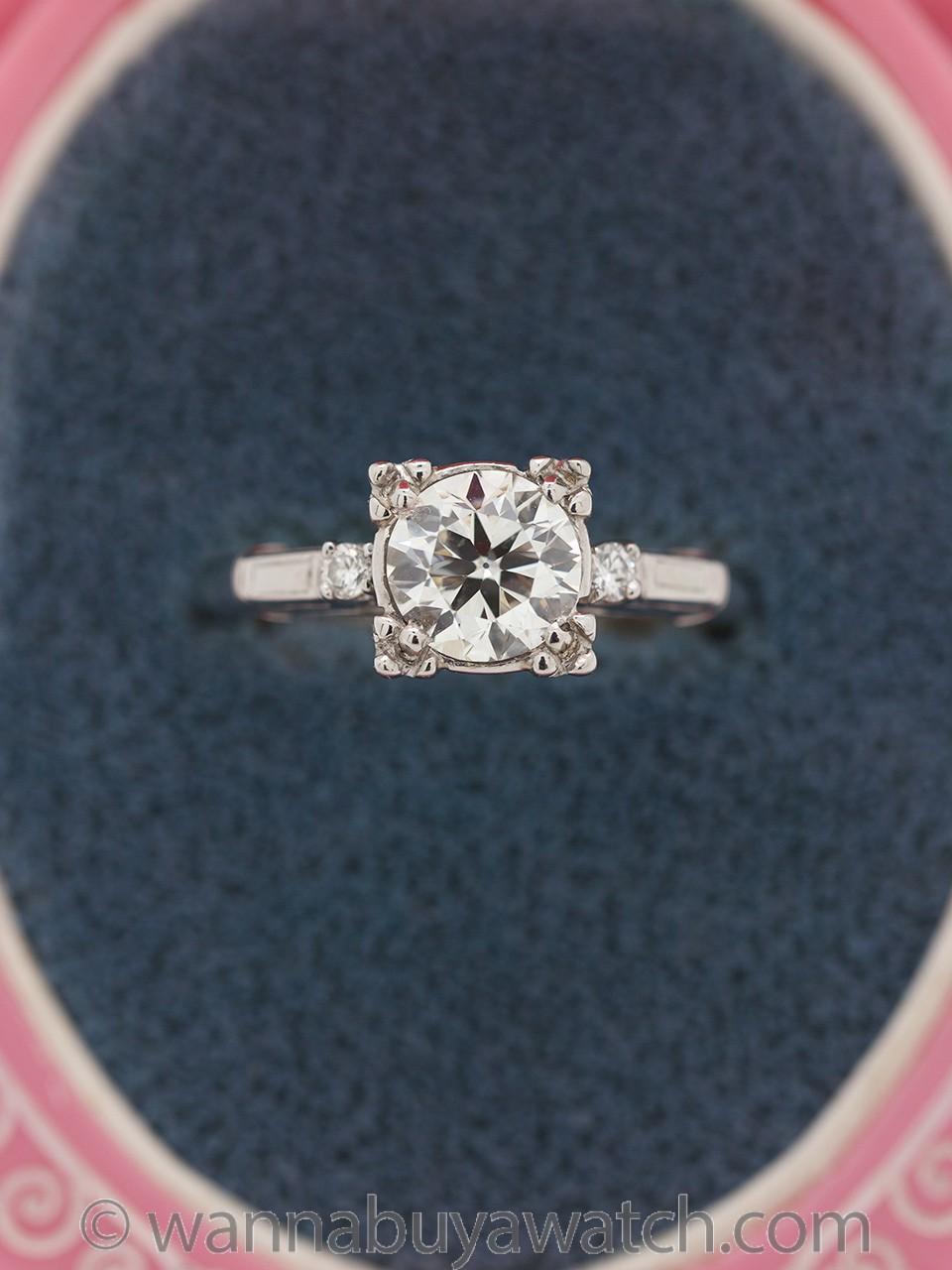 Vintage Engagement Ring Platinum 1.17ct Transitional Cut I-VS2 circa 1950s