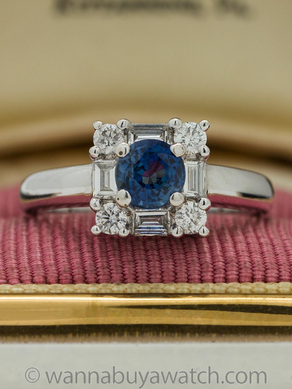 Gorgeous 18K WG Sapphire & Diamond Ring circa 2000s
