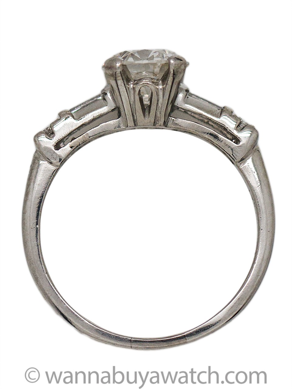 Vintage Engagement Ring 14K WG 1.23ct Transitional Cut G-SI2 circa 1950s