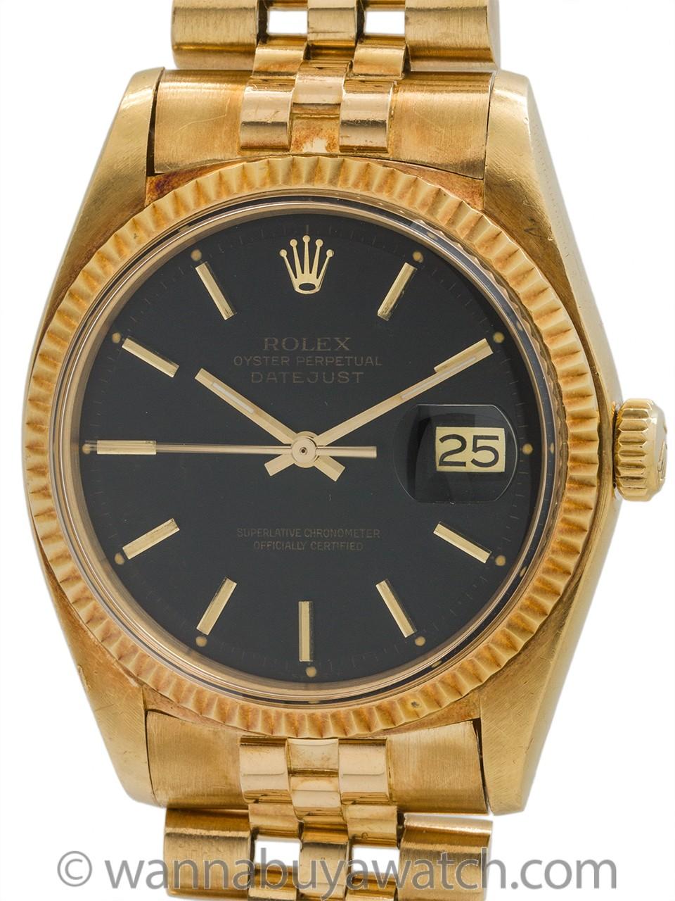 Rolex Datejust ref 1601 18K YG Black Dial circa 1977