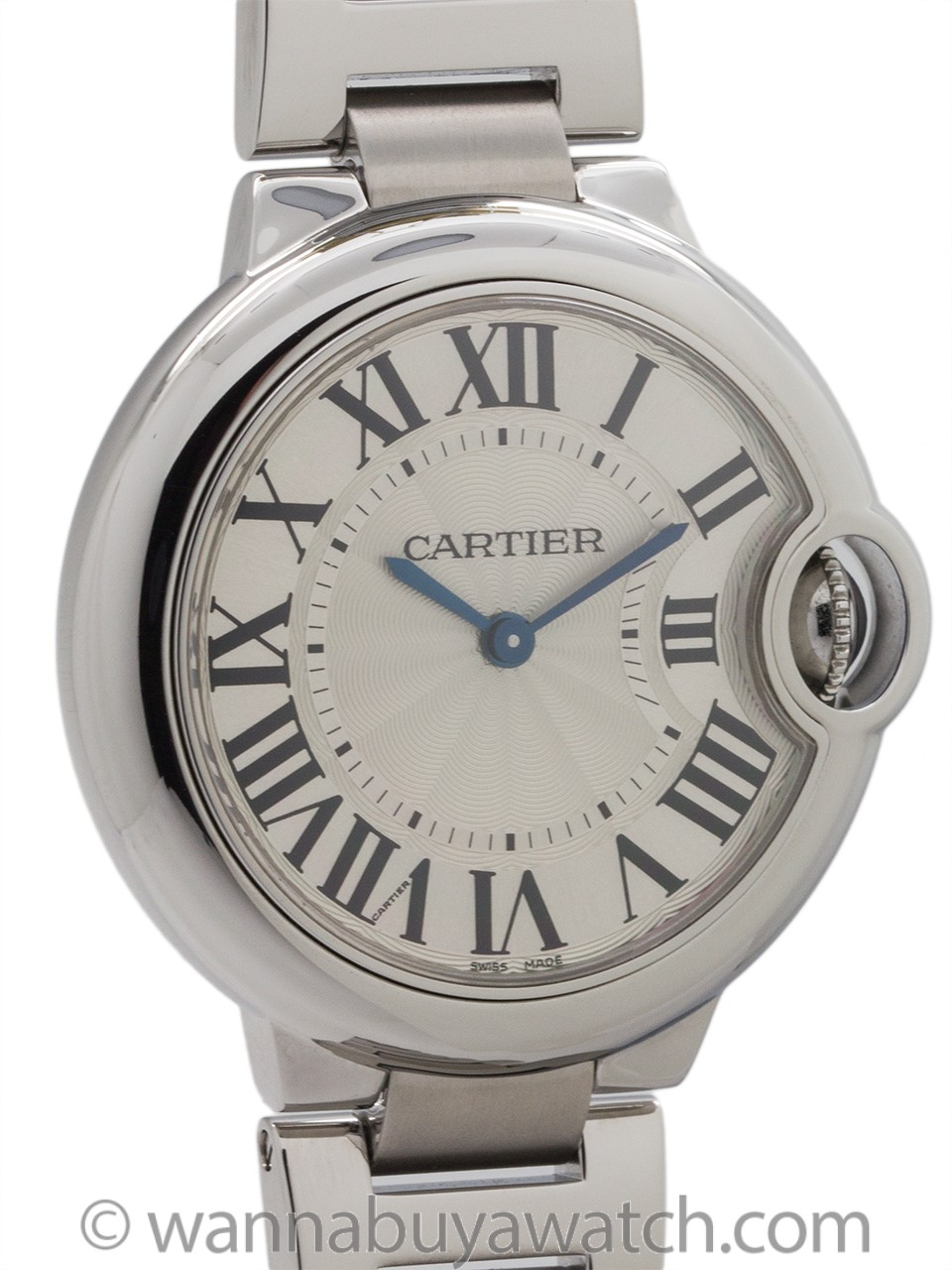 Cartier Ballon Bleu Stainless Steel Mid Size circa 2016 B & P