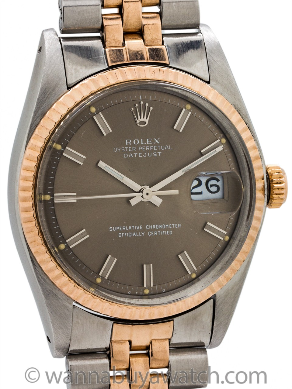 Rolex SS/14K Rose Gold Datejust ref 1601 circa 1969