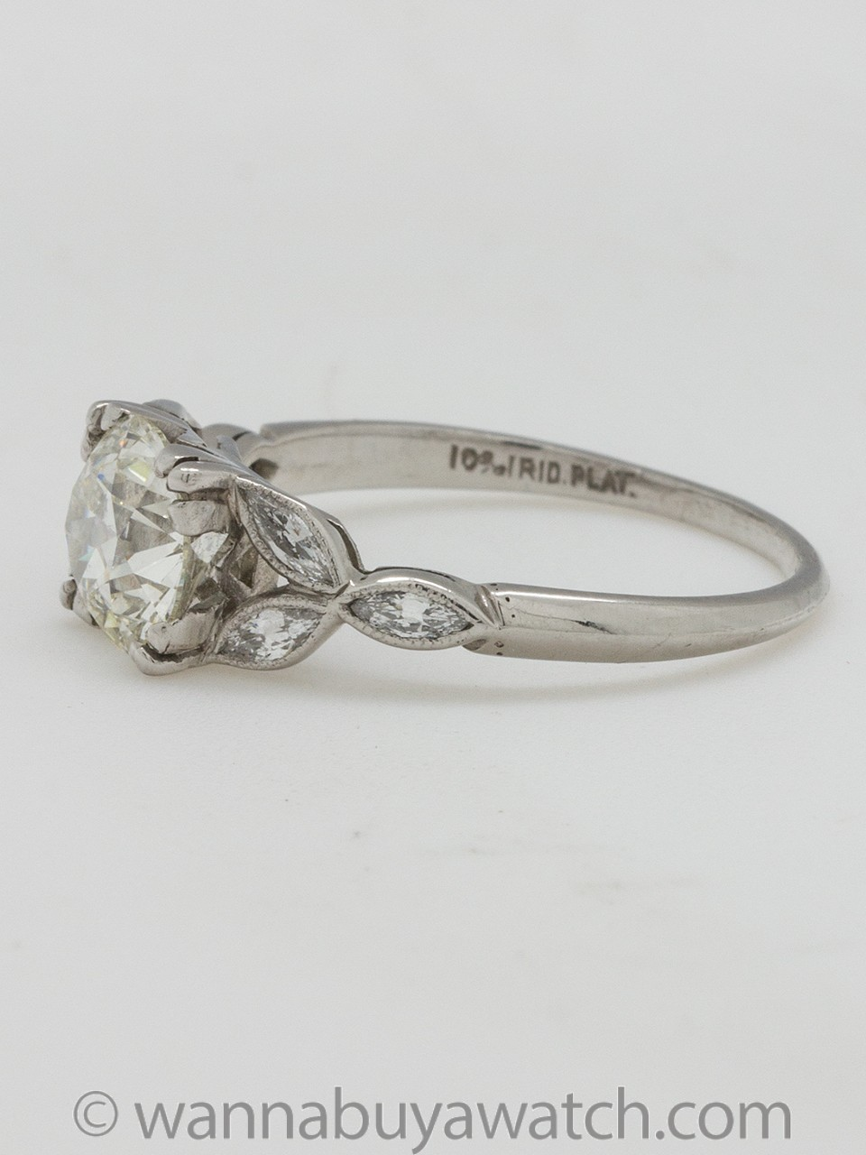 Vintage Engagement Ring Platinum 1.29ct OEC J-SI1 circa 1930s