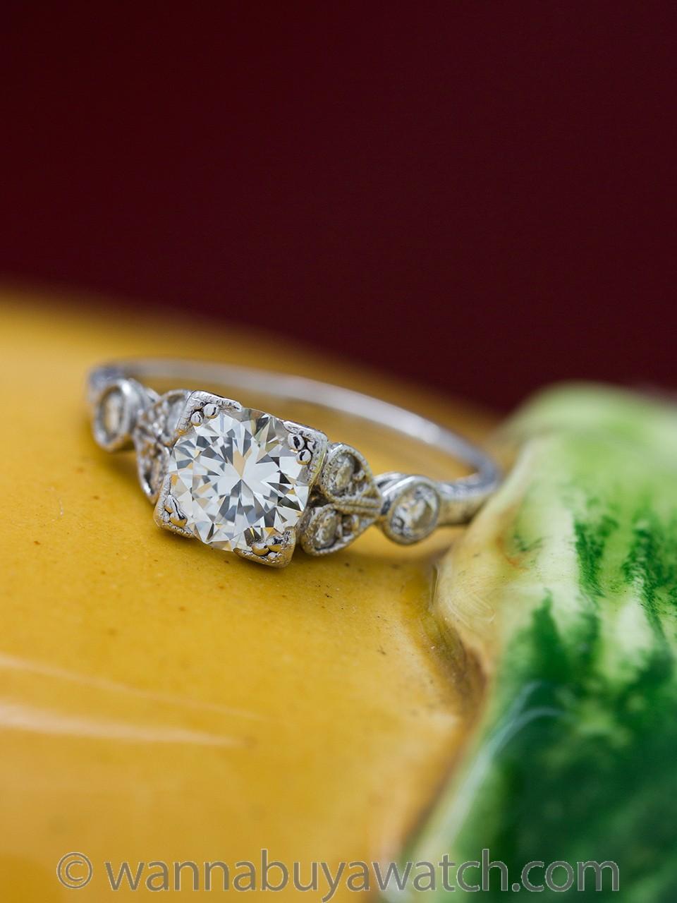 Vintage Style Engraved Engagement Ring Platinum 0.77ct F-VS2