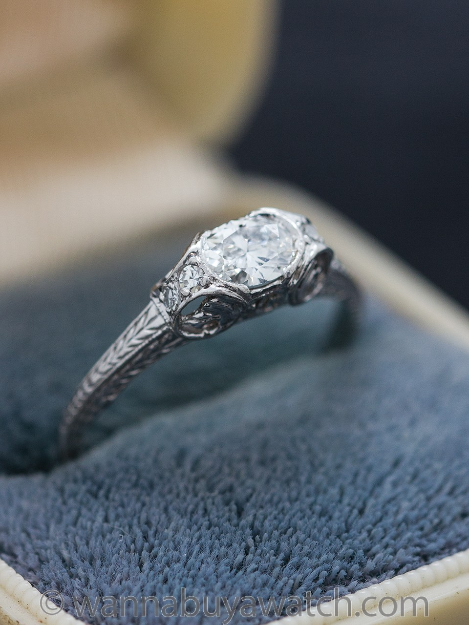 Engraved Platinum Engagement Ring 0.32 Carat Oval Cut G-VVS2
