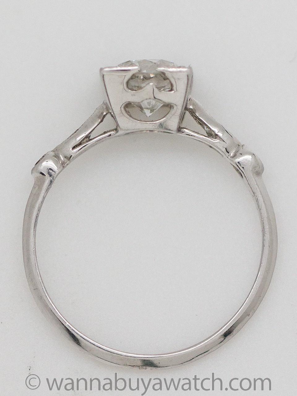 Vintage Engagement Ring Platinum 1.04ct Old European Cut F-VS2 circa 1930's