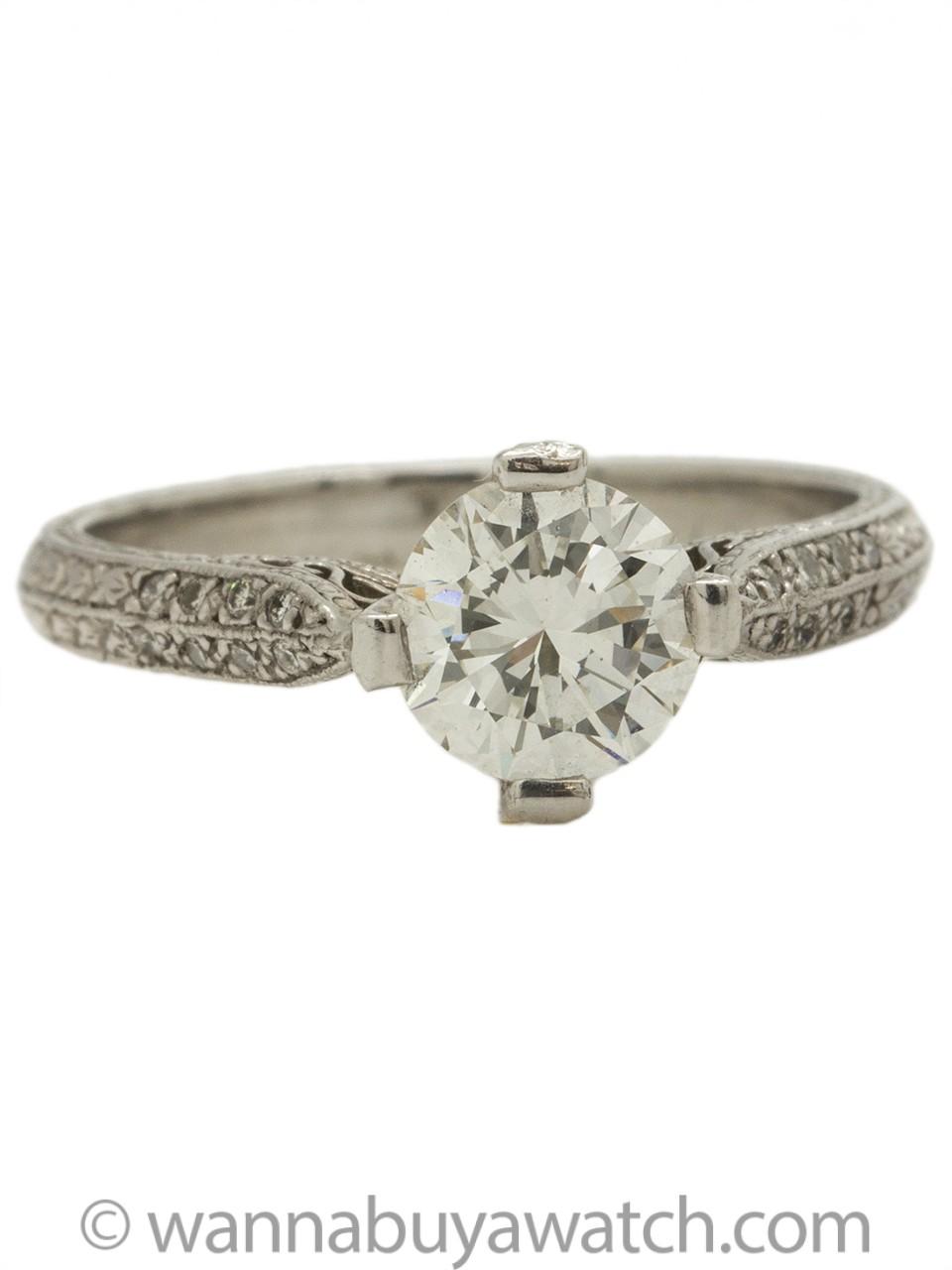 """New Vintage"" Platinum Engagement Ring 1.05ct Transitional Cut H-VS1"