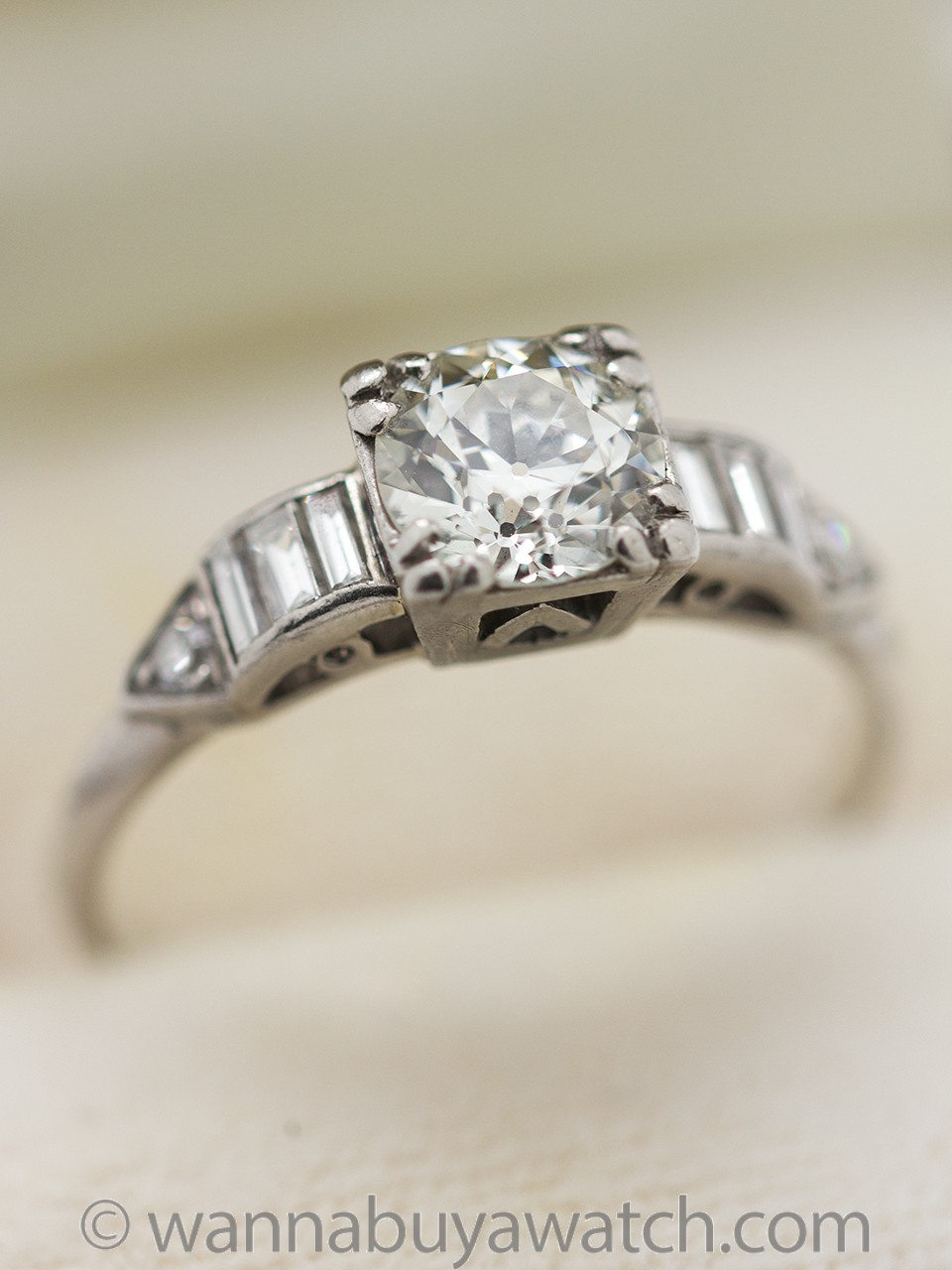 Vintage Engagement Ring Platinum 0.85ct Old European Cut J-VS2 circa 1930s