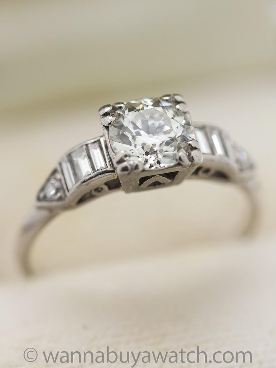Vintage Engagement Ring Platinum 0.85ct Old European Cut J-VS2 circa 1930s