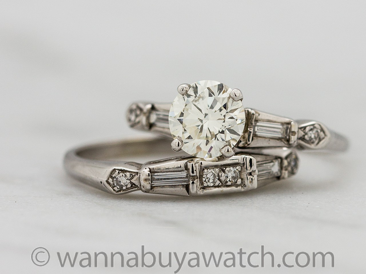 Vintage Diamond Engagement Ring Wedding Set 14K WG 0.93ct I-VS1 circa 1950s