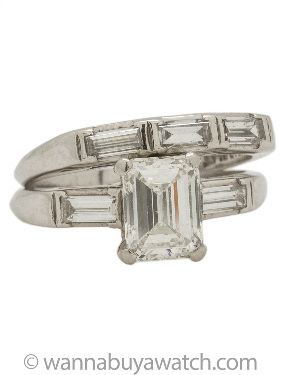 Vintage Platinum Emerald Cut Wedding Set 1.40 Carat F-VS2 circa 1940s