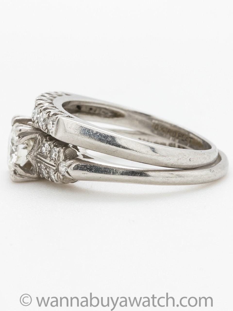 Vintage Platinum Diamond Wedding Set 0.77ct Transitional Cut G-VS2 circa 1940s