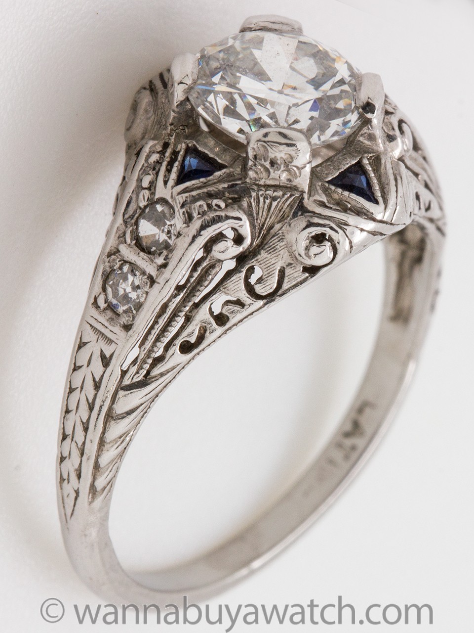 Vintage Art Deco Diamond Sapphire Platinum Engagement Ring 0.89ct E-SI2 circa 1920s