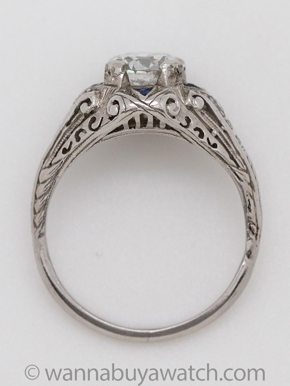 Vintage Art Deco Diamond Sapphire Platinum Engagement Ring 0.89ct E-SI2 circa 1920s