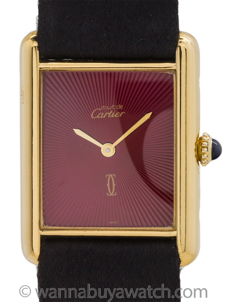 Cartier Tank Louis Man's Vermeil Burgundy Sunburst circa 1990's