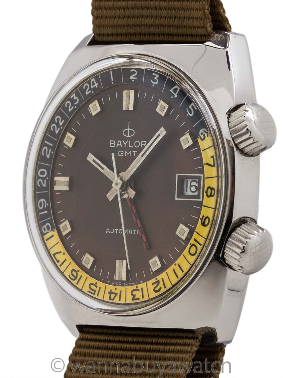 Baylor Diver GMT Stainless Steel circa 1970's
