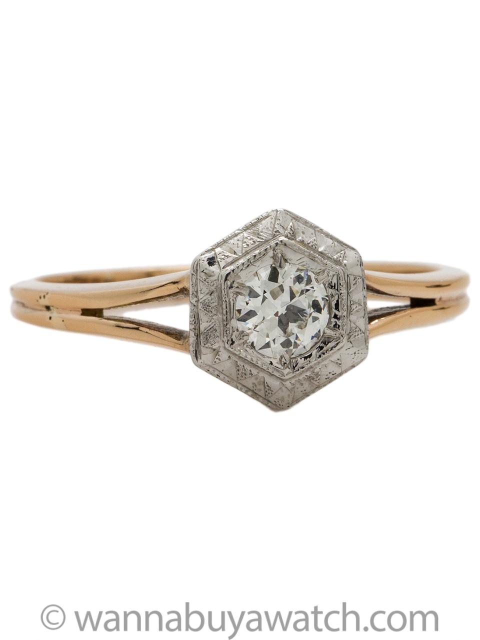 Vintage Engagement Ring 14K 0.40ct OEC H-SI1 circa 1920s