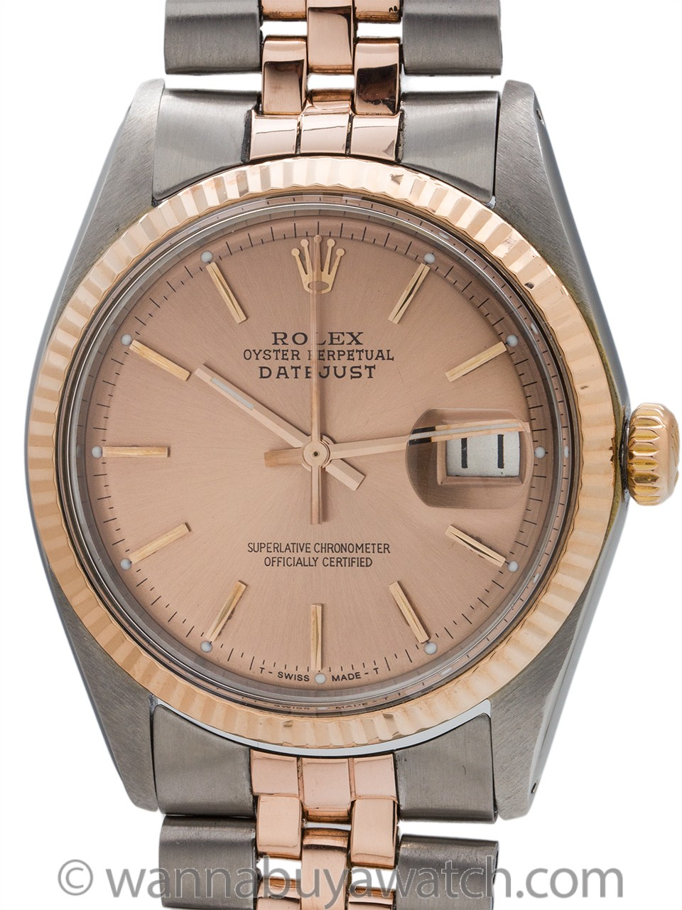 Rolex SS/14K Rose Gold Datejust ref 1601 circa 1974