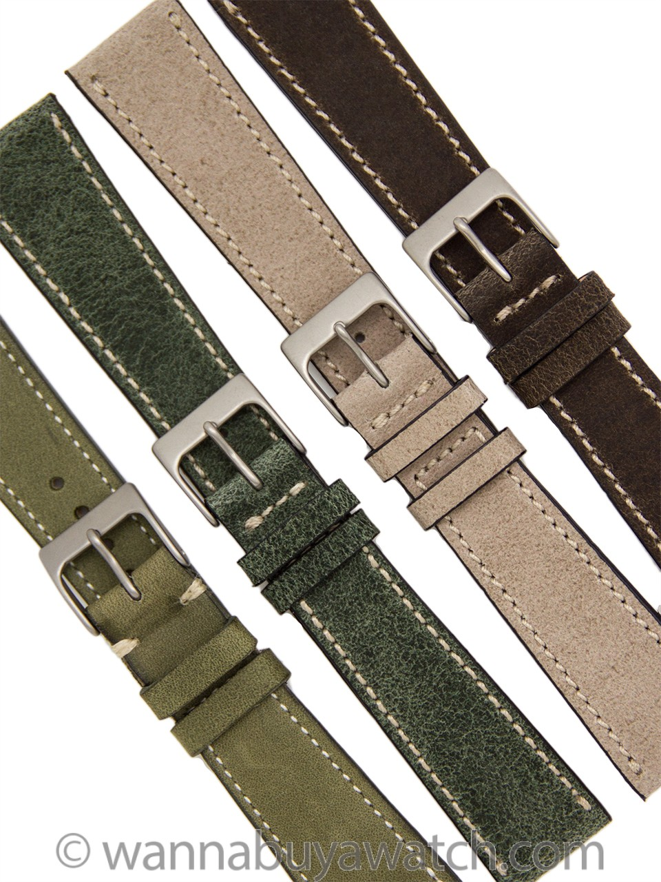 Leather Strap Nubuck Finely Side Stitched 20mm