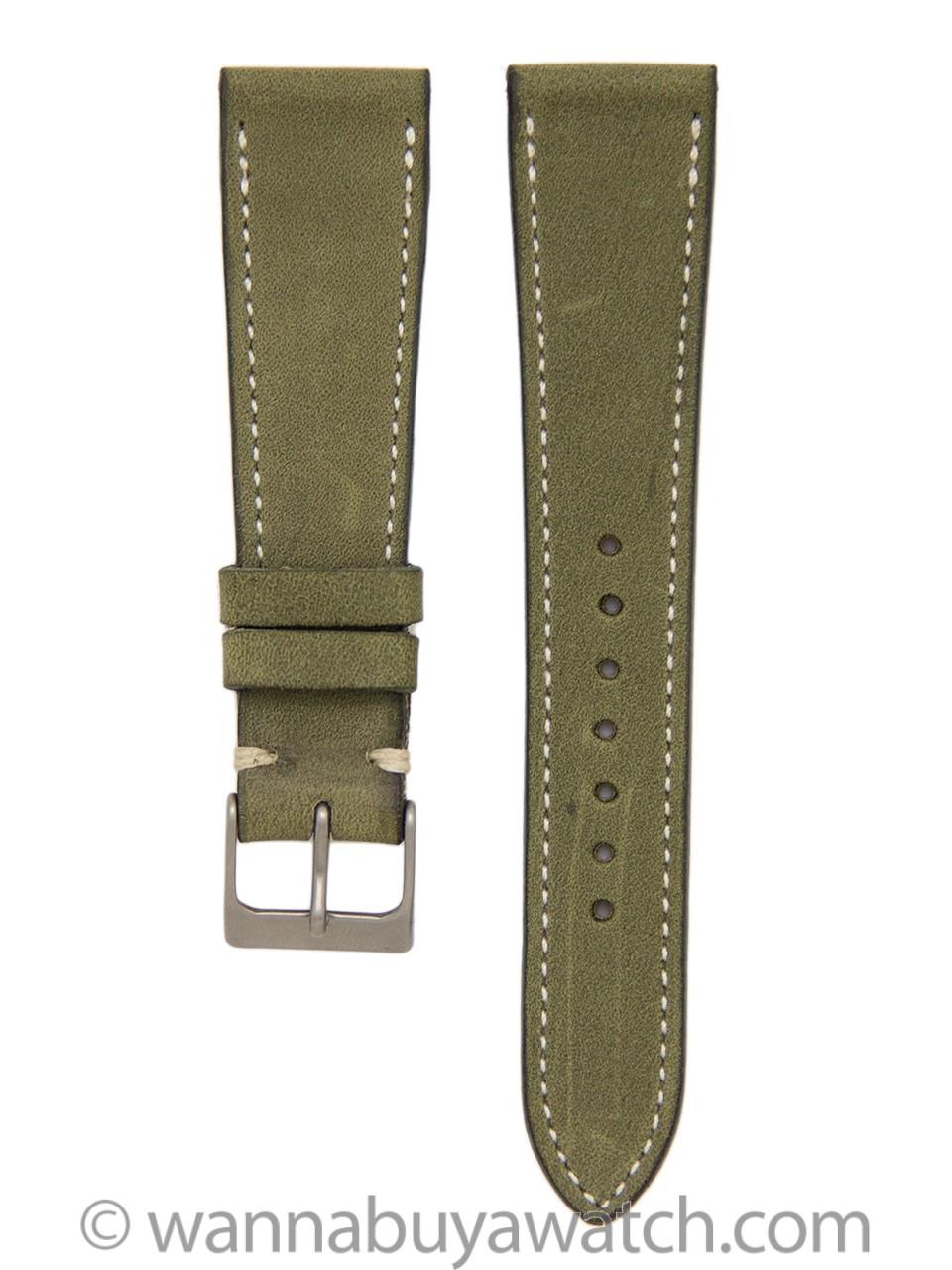 Leather Strap Nubuck Finely Side Stitched 20mm