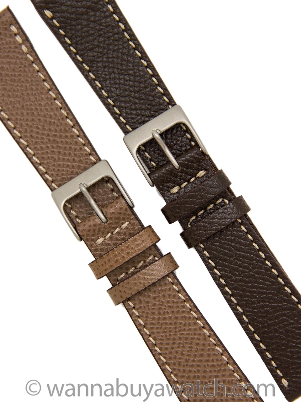 Hermes Style Patterned Fine Leather Strap 20mm