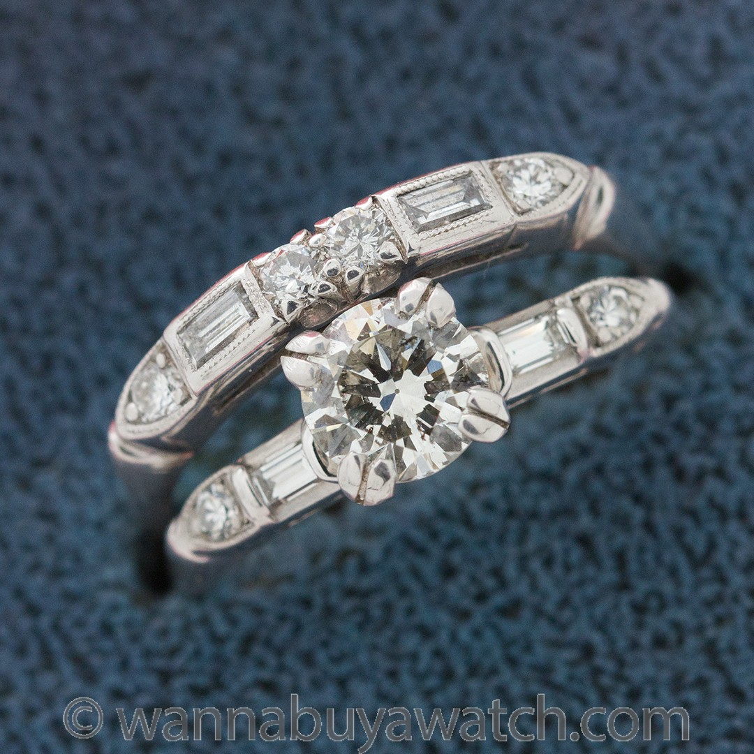 Vintage Engagement Ring Platinum 0.75ct Round Brilliant I-SI2 circa 1950s