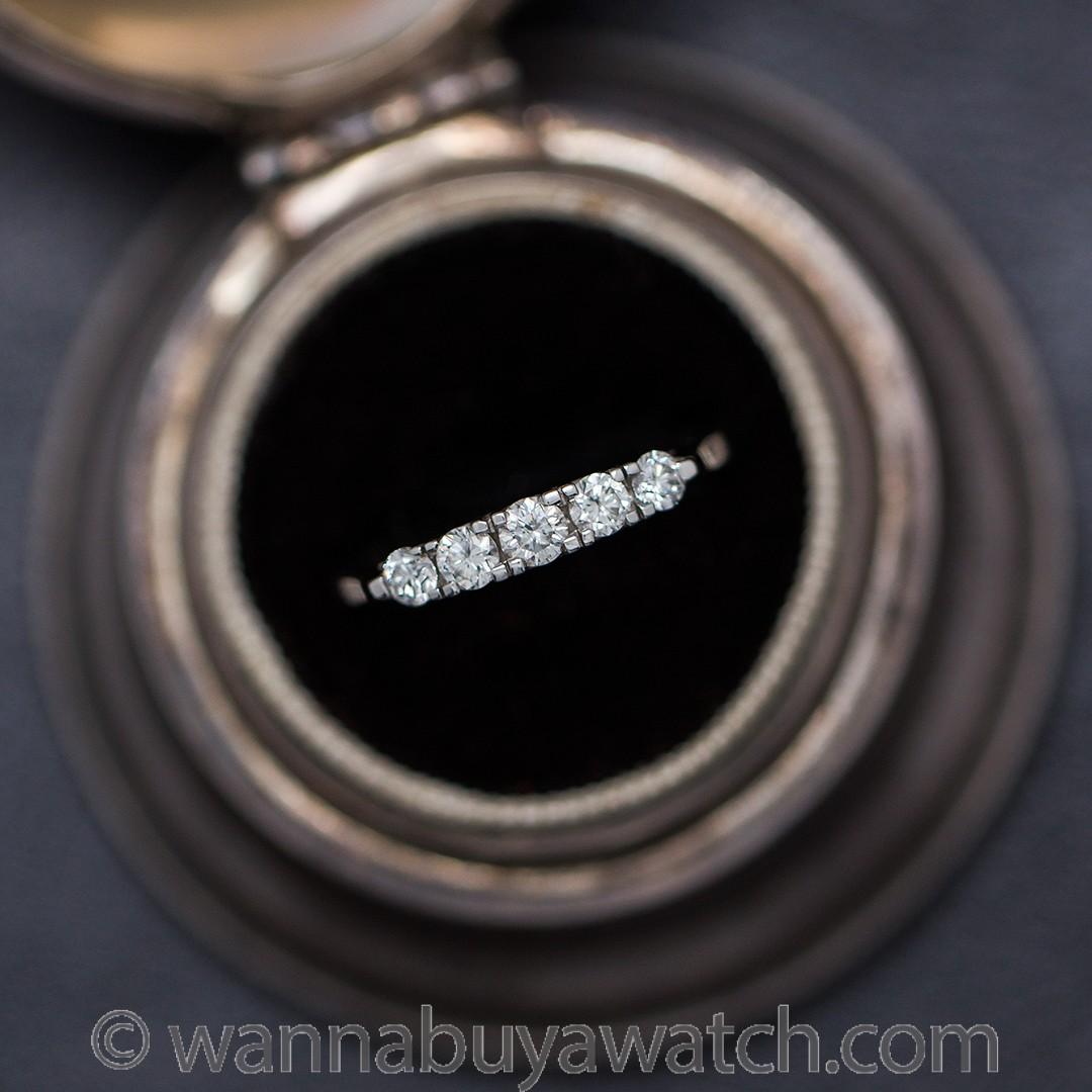 18K White Gold Five Stone Diamond Band 0.50ct circa 2000s