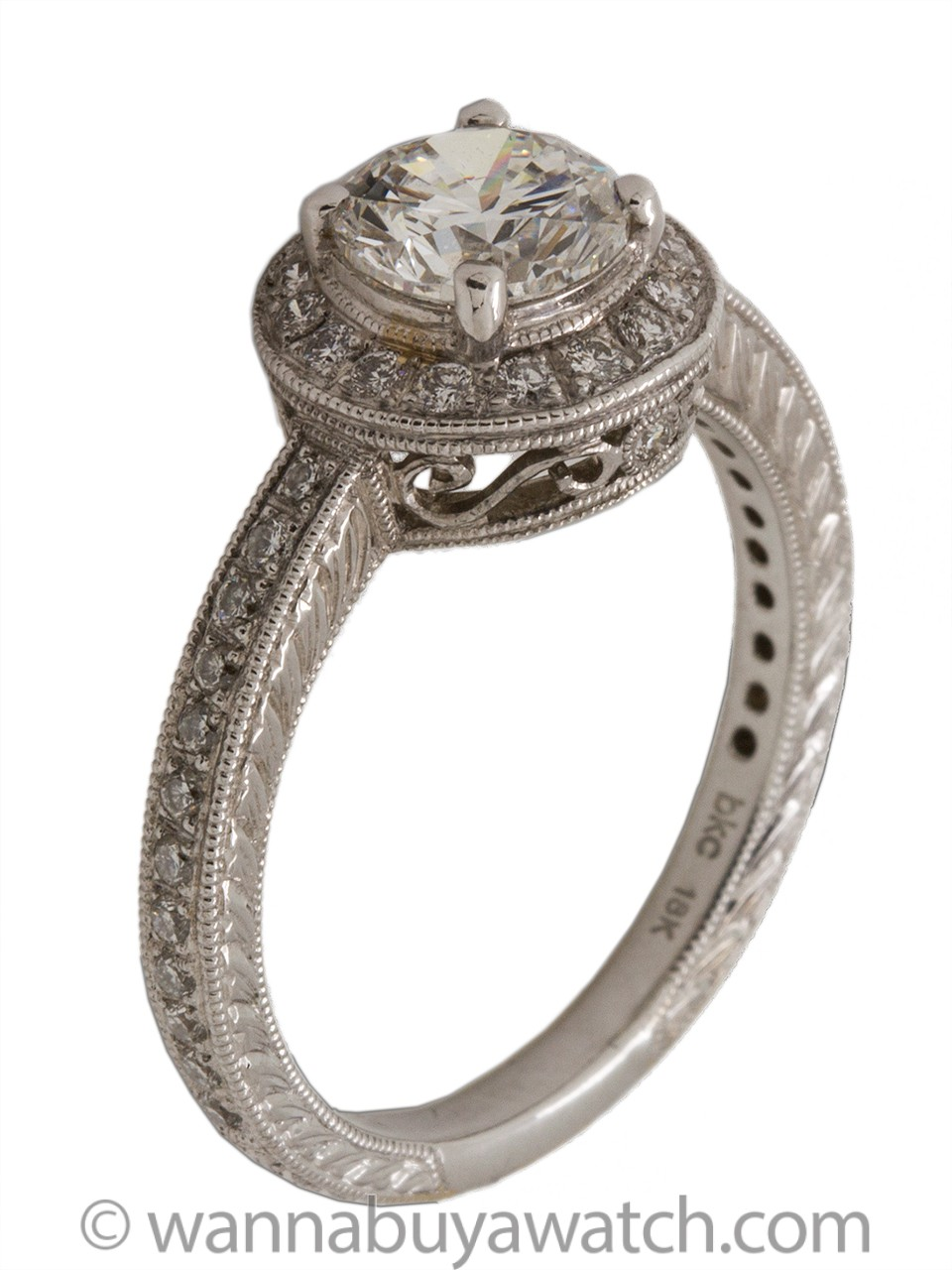 18K White Gold Engraved Pave Diamond Engagement Ring Certified 1.03ct E-SI1