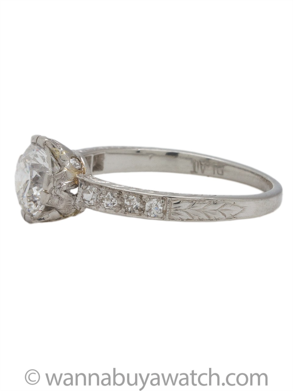 """New Vintage"" Engagement Ring Platinum 0.86ct G-SI1 circa 2000s"