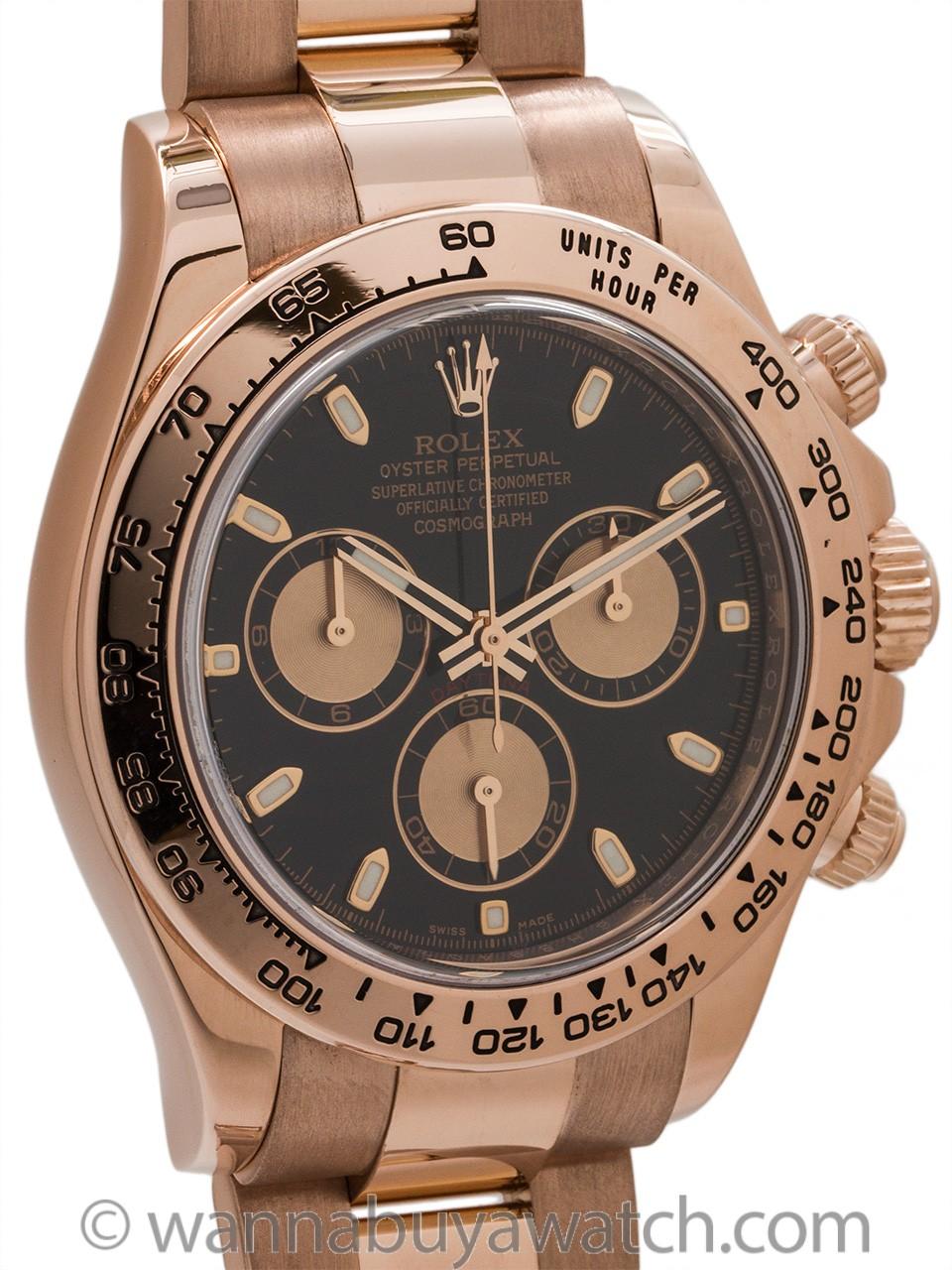 Rolex 18K PG Daytona Ref # 116505 circa 2010 Black Dial