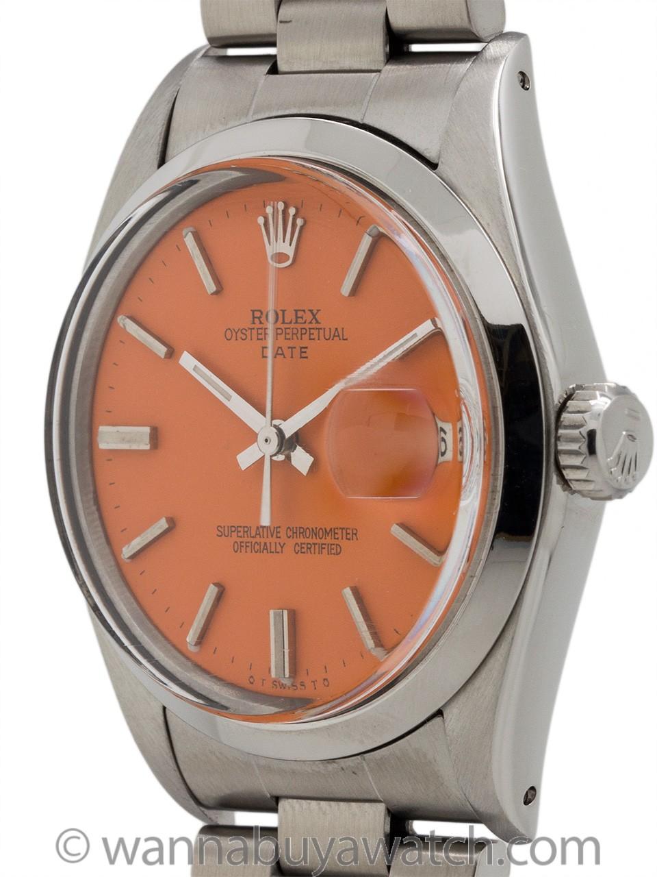 """Rolex Oyster Perpetual Date ref# 1500 circa 1970 """"Orange Sherbert"""""""