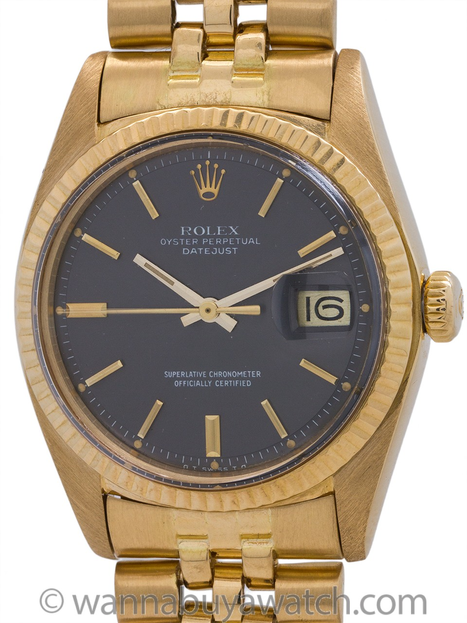 Rolex 18K Gold Datejust ref 1601 Gray Dial circa 1974