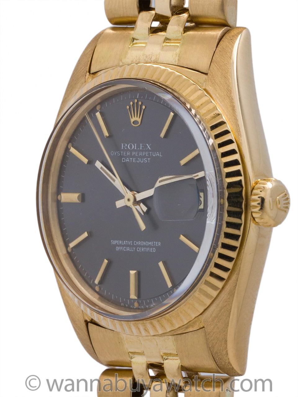 Rolex 18K Gold Datejust ref 1601 Gray Dial circa 1974